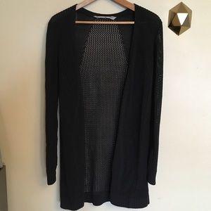 Athleta Black Open Knit Mesh Cardigan Sweater S